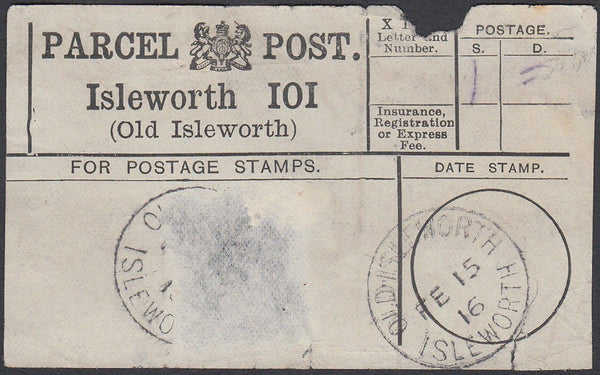 86958 - MIDDLESEX/PARCEL POST LABEL. 1916 label Isleworth ...