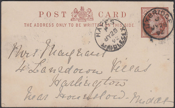 86983 - 1892 MIDDLESEX/ QV POST CARD CDS DATE STAMPS. 1892 QV ½d brown post card Uxbridge to H...