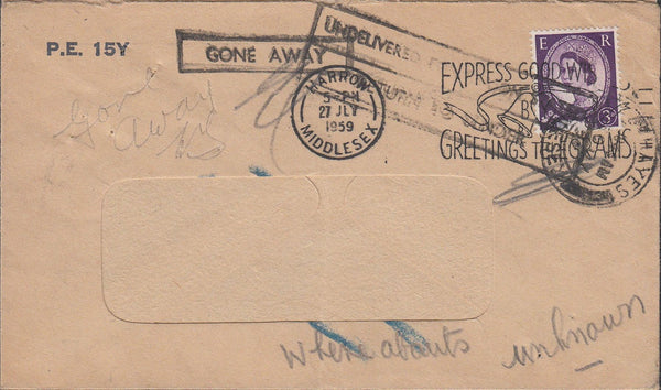 86995 MIDDLESEX. 1959 window envelope from Harrow.