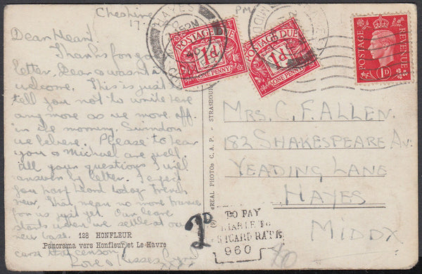 86996 - 1940 UNDERPAID MAIL/MIDDLESEX. Post card (slight creasing) Cheshir...