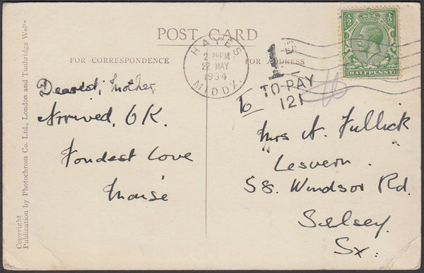 86998 - 1934 UNDERPAID MAIL HAYES TO SELSEY. 1934 post card Hayes to Selsey with KGV ...