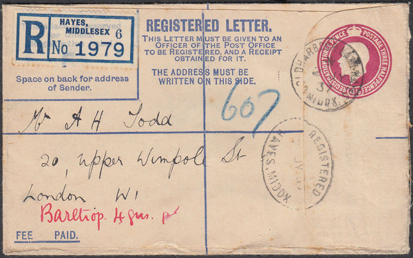 87000 - 1937 REGISTERED MAIL HAYES TO LONDON. KGV 4½d carmine registered envelop...
