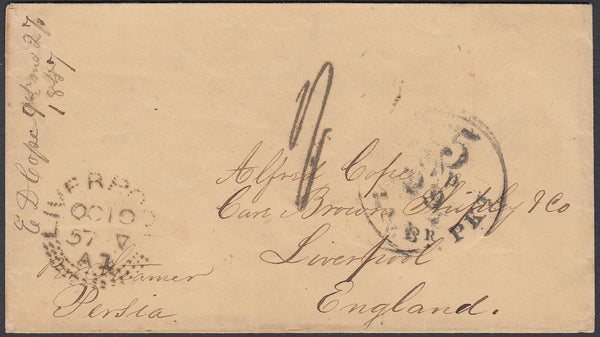 87034 - 1857 'LIVERPOOL' DOTTED CIRCLE DATE STAMP ON INCOMING MAIL FROM THE USA.