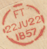 87036 - LIVERPOOL DOTTED ARC DATESTAMP. 1857 envelope Berl...