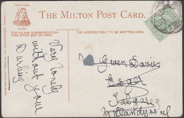 87049 - CIRCA 1905 'MAIL BAG SEAL' CANCELLATION ON POST CARD . Undated post card (c190...