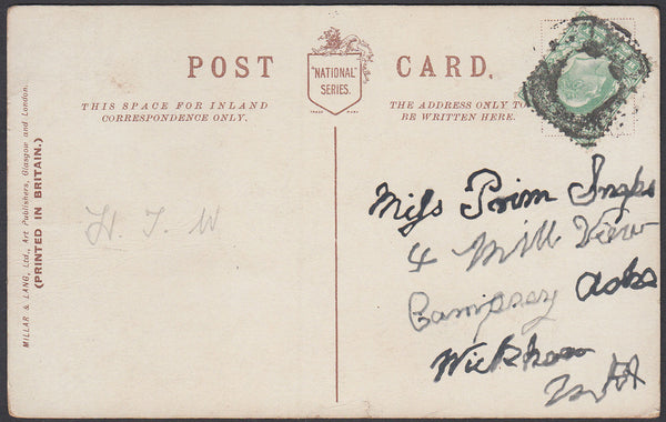 87051 - CIRCA 1905 MAIL BAG SEAL CANCELLATION. Undated postcard circa 1905...