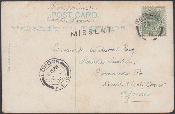 87068 - 1906 MAIL BRIGHTON TO FERNANDO PO. Post card Bright...