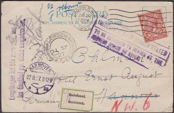 87073 - 1927 UNDELIVERED MAIL LONDON TO HANNOVER. Post card London to a hotel in Hannover with K...