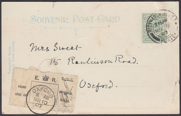87076 - 1907 DAMAGED/REPAIRED  MAIL RICKMANSWORTH TO OXFORD. Post card Rickmansworth to Oxfor...