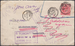 87087 - 1907 MAIL USED LOCALLY IN LOWESTOFT/RE-DIRECTED TO CANADA/UNDELIVERED. Envelope used locally in Lowestoft with KEDVI...