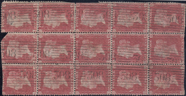 "87141 - 1857 STIRLING ""308"" ROLLER. A used block 1857 of 15 1857 die 2 1d rose-red on white paper"