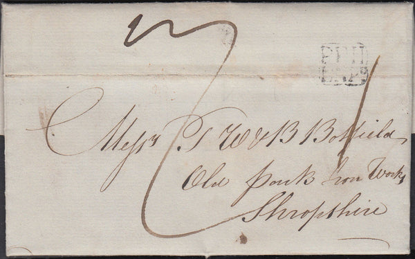 87158 - 1837 BIRMINGHAM PENNY POST/WEDNESBURY. 1837 entire Darlaston to Shropshire wi...