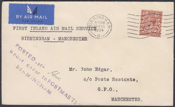 "87180 - 1934 ""POSTED UNDER COVER"" USAGE HOVE-BIRMINGHAM-MANCHESTER . Envelope Hove to ..."