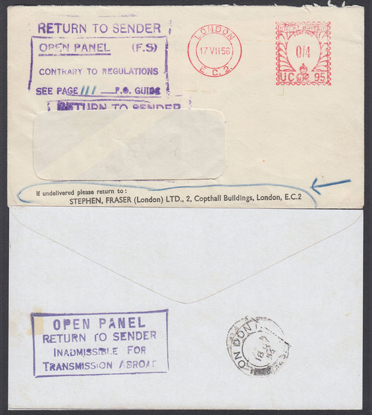 "87196 - 1956 ""OPEN PANEL"" CACHET. Window envelope from Lon..."