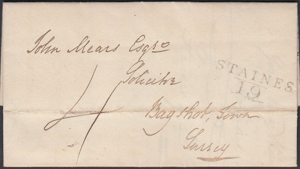 87278 - 1813 MIDDLESEX/'STAINES 19' MILEAGE MARK (MX267). Entire Staines to 'Bagshot dated 19...
