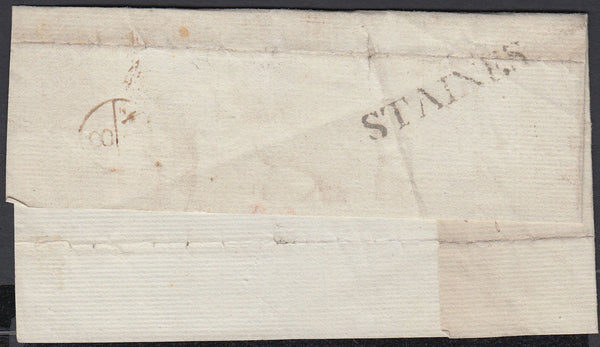 87280 - 1776 MIDDLESEX/'STAINES' HAND STAMP. Large piece Staines to London (filing folds) with...