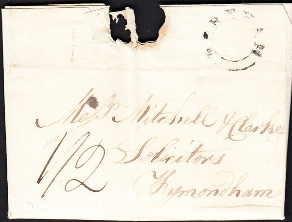 87385 - NORFOLK. 1835 letter East Dereham to Wymondham dat...