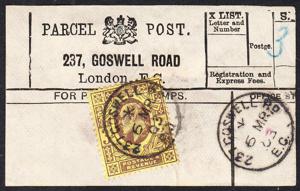 87420 - PARCEL POST LABEL. 1903 label 237, GOSWELL ROAD Lo...