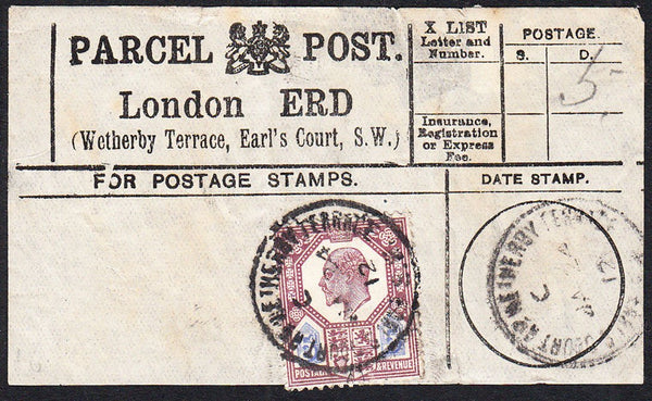 87421 - PARCEL POST LABEL. 1912 label London ERD (Wetherby...