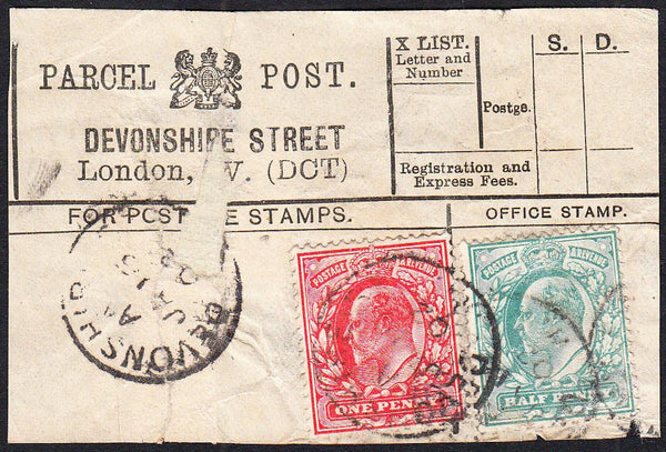 87425 - PARCEL POST LABEL. 1902 label (repaired tear) DEVO...