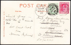 87465 - 1906 MAIL CHRISTMAS DAY USAGE. Post card Ceylon to Rothe...