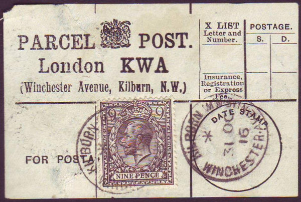 87488 - PARCEL POST LABEL. 1916 label (tear) London KWA (W...