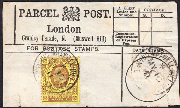 87504 - PARCEL POST LABEL. 1911 label (repaired tear) Lond...