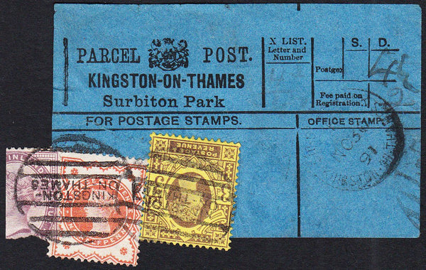 87513 - PARCEL POST LABEL/SURREY. 1891 blue label KINGSTON...