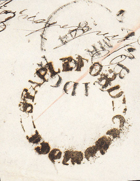 87534 - 1844 CAMBS/'STAPLEFORD CAMBRIDGE' UDC. Fragment with good strike STAPLEFORD/CAMBRI...