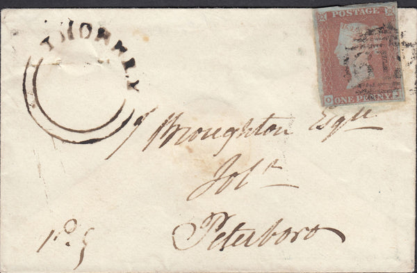 87536 - 1849 CAMBS/'THORNEY' UDC (CB144). Envelope used locally in Peterborough ...