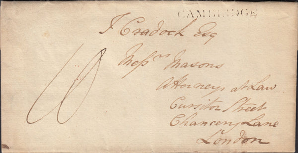 87572 - 1800 CAMBS/'CAMBRIDGE' HAND STAMP (CB34). Letter Christ's College to Chancery Lane London date...