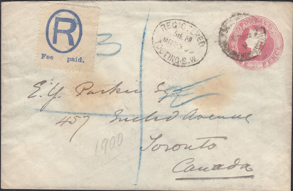 87583 - 1899 REGISTERED MAIL TOOTING TO TORONTO WITH QV 3D CARMINE S.T.O.