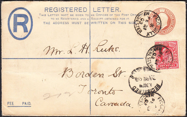 87595 - 1903 REGISTERED MAIL MANCHESTER TO CANADA. KEDVII 3d red-brown registered envelope Manch...