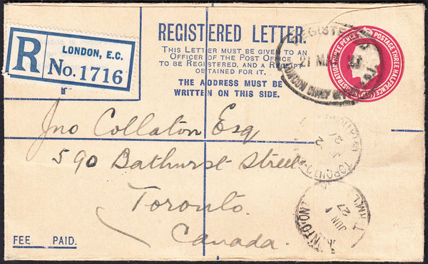 87599 - 1927 KGV 4½d carmine registered envelope London to...