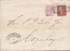 87613 - 1879 MAIL LONDON TO COPENHAGEN/PL.212 (SG43)/LATE FEE. Wrapper Lon...