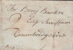 87687 - 1793 CAMBS/'ELY' CURVED HAND STAMP (CB100). Small 1793 letter (71x47mm) - slight faults...