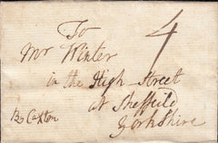 87694 - 1772 CAMBS/'ELY' HAND STAMP (CB92g)/MANUSCRIPT 'BY CAXTON'. 1772 entire Ely to Sheffield dated August 2...