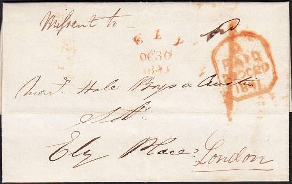 87706 - 1841 CAMBS/'ELY' UNRECORDED SKELETON HAND STAMP/MISSENT. Lett...