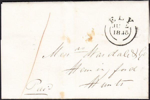 87708 - 1845 CAMBS/'ELY' DATESTAMP (CB110) ERROR OF DATESLUG. Letter Witcham to Hemingford dated Jun...