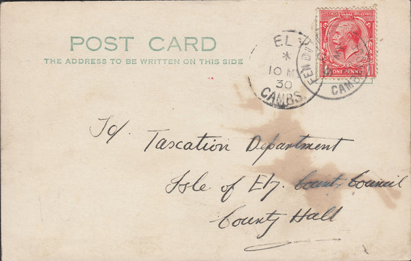 87715 - CAMBS. 1930 postcard Fen Ditton Cambs to Isle of E...