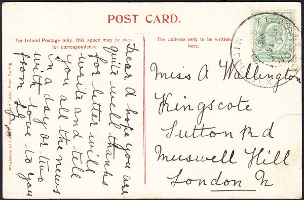 87717 - 1906 MAIL TO MUSWELL HILL WITH 'YIEWSLEY SO/MIDDLESEX' SKELETON DATE STAMP.