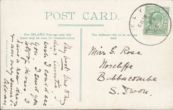 87723 - CAMBS. 1905 postcard Ely to South Devon with KEDVI...