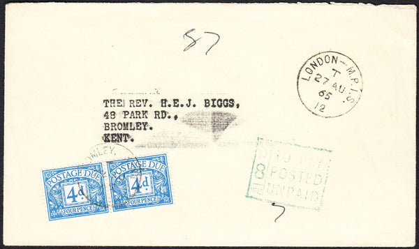 87748 - 1965 UNPAID MAIL. Envelope London to Bromley Kent, postage unpa...