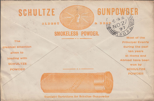 "87756 - ""SCHULTZE GUNPOWDER"" ADVERTISING ENVELOPE. 1897 en..."