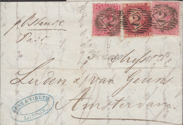 87763 - 1861 MAIL LONDON TO HOLLAND. A very fine wrapper London t...