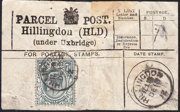 87770 - PARCEL POST LABEL/MIDDLESEX. 1912 label (repaired ...