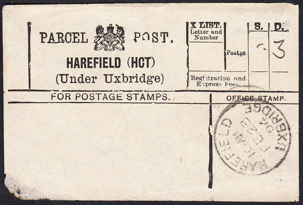 87783 - PARCEL POST LABEL/MIDDLESEX. 1904 label (corner fa...