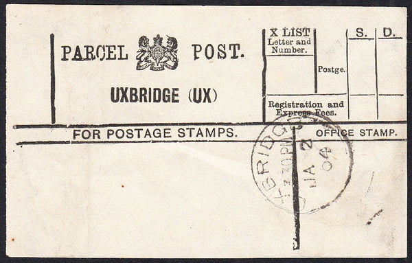 87786 - PARCEL POST LABEL/MIDDLESEX. 1904 label without st...