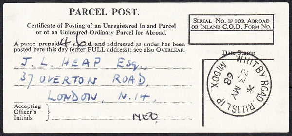 87794 - 1968 parcel post receipt label cancelled neat WHIT...