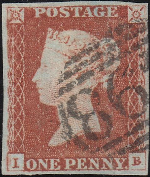 87797 - 1845 1DPL.61 (IB)(SG8). A good used 1d pl.61 lett...